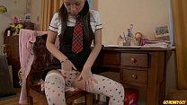 Schoolgirl doing homework stops to masturbate