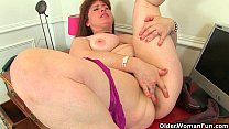 British milf Janey and Leia finger their mature...