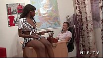 Pretty french black student hard banged by her ...