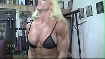 Blonde Female Bodybuilder in See Thru Top Works...