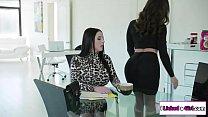 Lesbian boss ass fucked by her secretary
