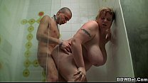 Fat bitch sucking cock in the shower