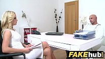 Female Agent Bodybuilder shoots his load all ov...