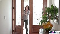 Abella anal toying when wife comes home and ask...