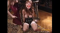 Bound and gagged brunette cutie gets whipped by...