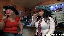 Bbw girls have fun in the bar