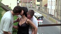 Young petite girl public sex threesome on a tra...