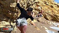 Voyeur girl invites herself into a couple beach...