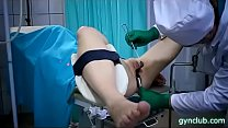 hard gynecological examination of a young patie...