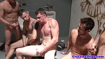 Piss fetish gay hunk empties his bladder Thumbnail
