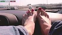 Traveling With Lisa -Amateur Foot Smelling Worship In the Car