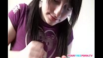 Petite girl with pigtails gives her first hand job