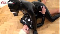 Latex lesbians fucking with black strapon