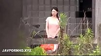 Japanese housewife fucked outside the house hus...