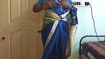 desi north indian horny cheating wife vanitha wearing blue colour saree showing big boobs and shaved pussy press hard boobs press nip rubbing pussy masturbation Thumbnail
