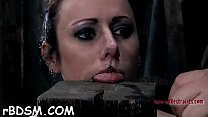 Chick is gagged with a rod stuffed to her lusty muff