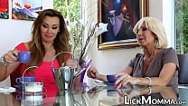 Naughty stepmom feasts on blond pussy and sciss...