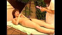 Asian Girl Getting Her Hairy Pussy Stimulated And Fucked With Toys By The Masseu