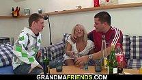Boozed grandmother swallows two big cocks Thumbnail