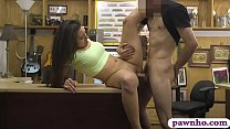 Brunette beauty blowjobs and banged hard