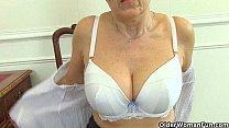 English granny Savana is fingering her old pussy Thumbnail
