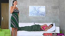 Horny brunette MILF Lyzley gets her pussy licke... Thumbnail