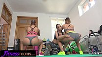 Fitness Rooms Sexy young gym girls share double...