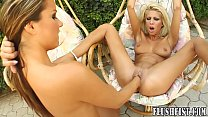Outdoor pussy licking moves onto fisting fun Thumbnail