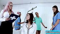 Jenifer Jane anal strapon by four nurses