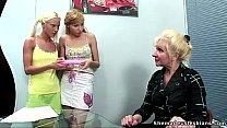 Two blonde russian teens get a lesson of lesbia... Thumbnail