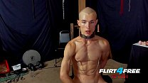 Flirt4Free Fetish Flogger Hoss Kado Clamps His Nipples and Sits on a Dildo