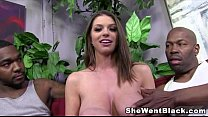 Big Tit Brunette Brooklyn Chase gets Creampied by 2 Black Cocks