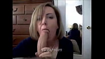 Slutty wife sucks and licks cock like a hungry ...