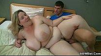 Huge titted plumper sucks big cock before sex