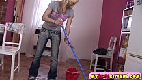 Hottie cleans the floor and fingers her cunt