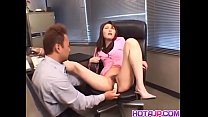 Busty brown haired lass Maria Fujisawa sucks and fucks a huge dick