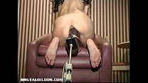 Shannen getting pounded by big brown dildo machine