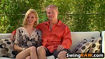 Group amateur orgy swinger reality show blowjob
