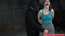Restrained sub dildofucked by maledom