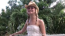 girl in cowboy hat naked on my balcony on vacation