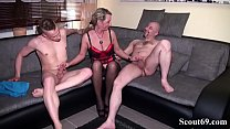 Daddy and Step Son Fuck German MILF in hard Thr...