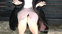 English milf persuaded to flash outdoors Thumbnail