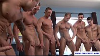 Muscled straight enjoys orgy with gay hunks Thumbnail