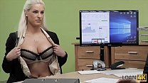 LOAN4K. Agent gives blonde some money for on-li...