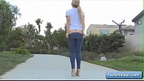 Sexy busty blonde teen Zoey finger her tight as...