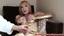 Alluring cosplay tranny fucks her lovers ass