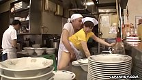 Japanese waitress Mimi Asuka gets finger fucked in the restaurant)