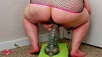 STRETCHING and BREEDING bbw pussy with BAD DRAGON COCK -full on red-