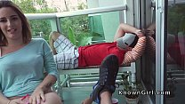 Hot girlfriend bangs pov on the balcony