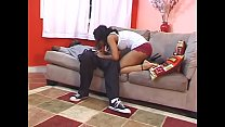 Well-stuffed black dude with dreadlocks get his nuts off on pretty face of ebony floozie after hot nasty sex